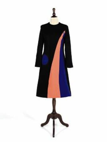 pierre cardin a black knit tunic dress with circular patch pocket and swathes of apricot and - Pierre Cardin Costume Mariage