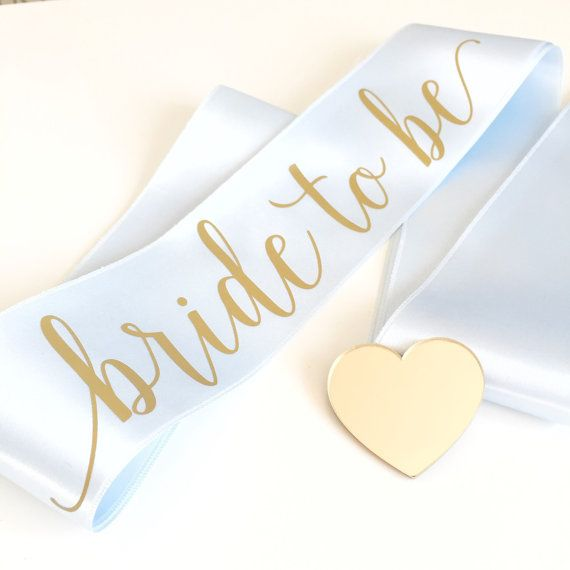 Bride to be sash bachelorette sash gold and ice blue by HopStudio