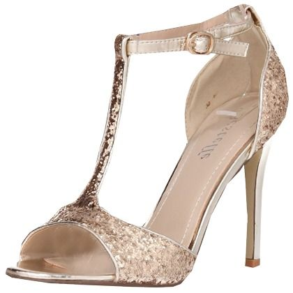 Sandaletten mit Plateau - Glamouröse Sandalen in Gold von Schuhtempel24. Die Sandalen sind mit goldenen Pailletten übersät und passen so perfekt zum Abendkleid. - ab 10,00€