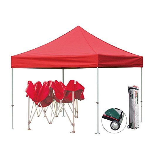 Eurmax Pop Up Canopy Tent Fair Shelter Straight Leg Instant Portable Canopy Gazebor - 10 x 10 ft, Red