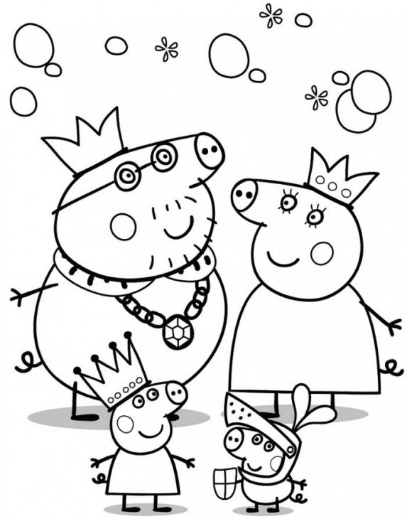 peppa pig family coloring page for kids