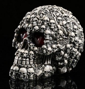 Small Precision yellow light theme interior furnishings resin skull model movie scene props bar halloween home decoration