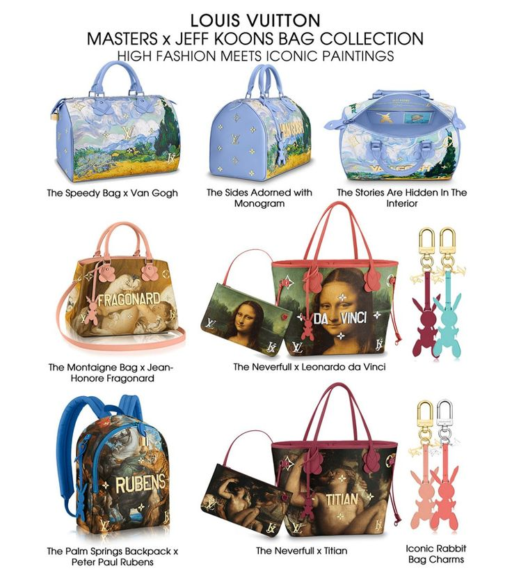 The Louis Vuitton iconic handbags like the speedy, neverfull and the montaigne bags are all presented with artworks of the old masters like Van Gogh, Da Vinci, Fragonard, Titian and Rubens. The Collection also features the iconic Rabbit Charm. #louisvuitton #louisvuittonjeffkoons #louisvuittonmasters #louisvuittonart #louisvuittonvangogh #louisvuittondavinci #louisvuittontitian #louisvuittonrubens #louisvuittonfragonard #newbags #artbags #fashionmeetartspaintings #bragmybagofficla