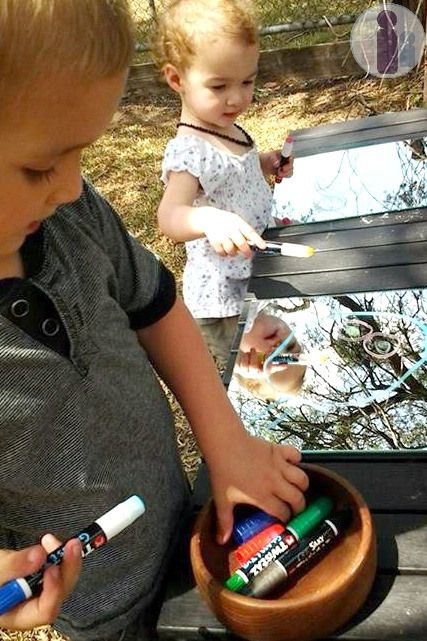 Invitation to draw on mirrors -- a great idea for keeping little kids busy.