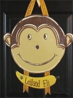tons of wood painting ideas!: Monkey Doors Hangers, Mishmosh Ideas, Crafts Ideas, Diy Crafts, Paintings Ideas, Burlap Doors, Kids Ideas, Art Ideas, Crafts Time