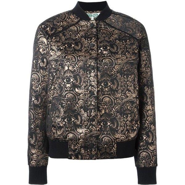 Kenzo 'Eyes' jacquard bomber jacket ($680) ❤ liked on Polyvore featuring outerwear, jackets, black, stand collar jacket, kenzo jacket, kenzo, bomber jacket and blouson jacket