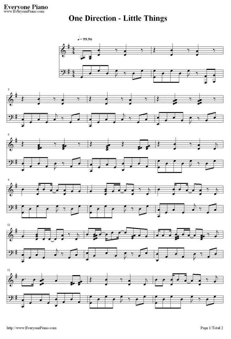 LITTLE THINGS-One Direction Sheet Music Preview 1