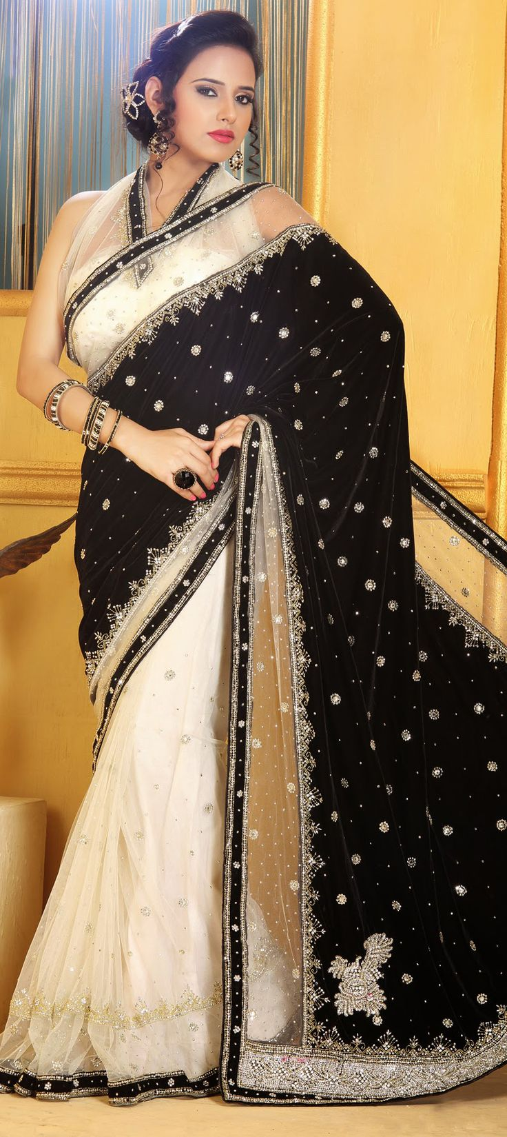 150058: Black and Grey, Beige and Brown color family Saree with matching unstitched blouse.