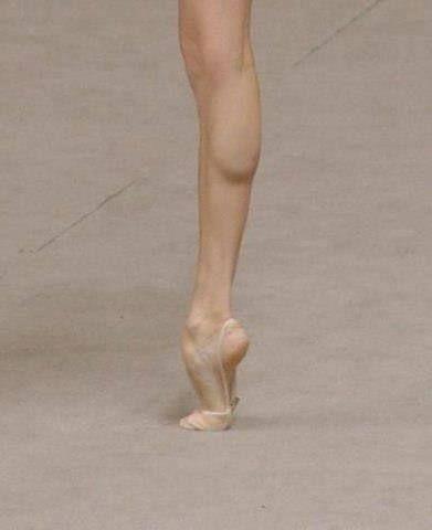 A single foot - clearly belongs to rhythmic gymnast