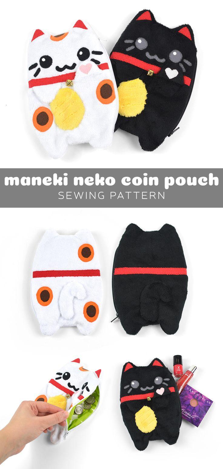 Maneki Neko coin pouch free PDF pattern download!