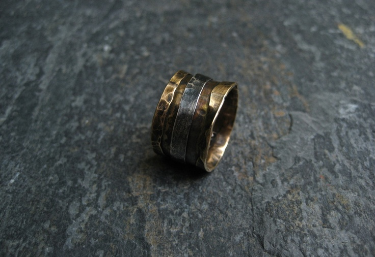 Hammered Brass And Silver Ring/ Mixed Metal by DeborahLeeTaylor