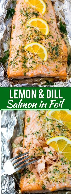 """Salmon in Foil with Lemon and Dill Dinner Recipe 