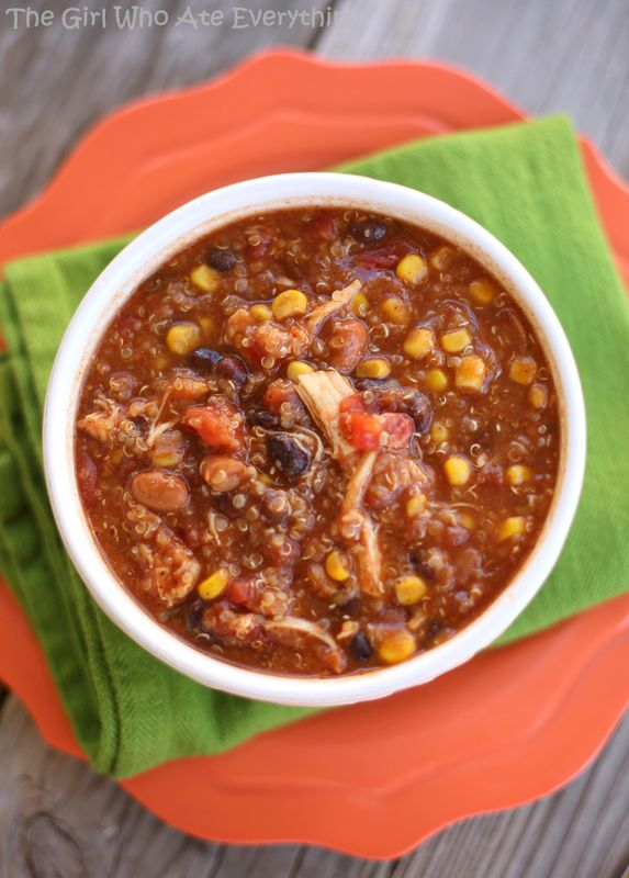 Slow Cooker Quinoa Chicken Chili | The Girl Who Ate Everything