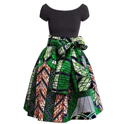 Meni African Print High Waist Full Skirt (Green/Navy)