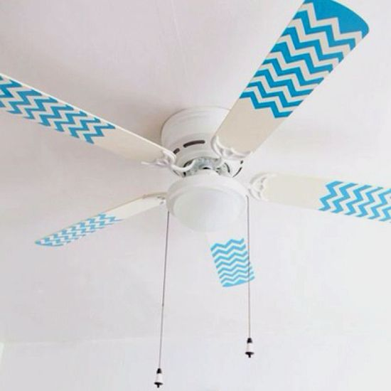 Seven Super Easy Chevron Crafts  Hay, here's an idea to do to my Ceiling fan. It's perfect. But I would cover the whole fan.