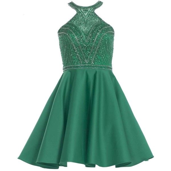 Alyce 3750 Bat Mitzvah Dress Mini Halter Sleeveless ($168) ❤ liked on Polyvore featuring dresses, emerald green, formal dresses, short homecoming dresses, beaded prom dresses, short beaded cocktail dresses and beaded cocktail dresses