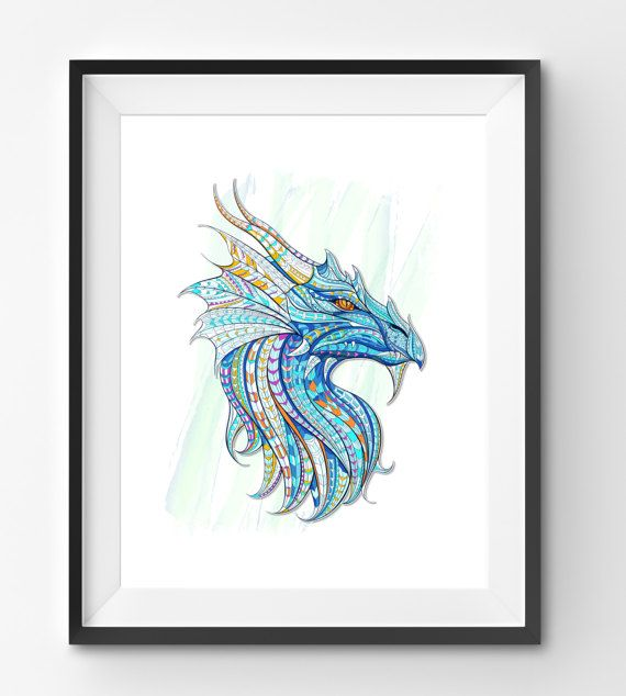 Colorful Dragon Art Dragon Wall Art Mosaic Dragon Print