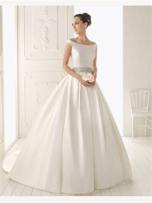 White Ball Beading Sash Off-The-Shoulder Strap Satin 2014 Wedding Dresses