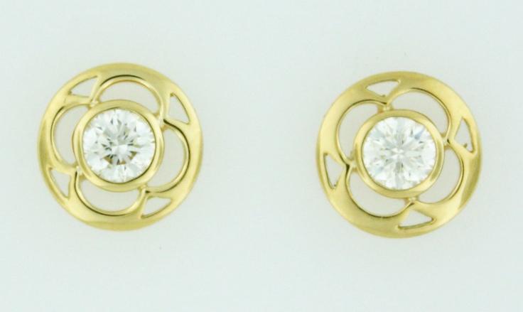 0.34ctw Hearts on Fire Diamond Copley 18K Yellow Gold Stud Earrings