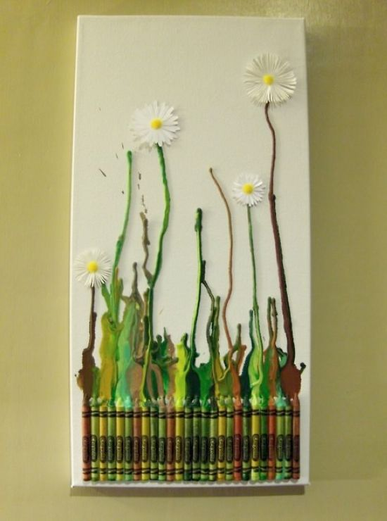 Melted Crayon Art Projects - Omg in love with this flower idea for a melted crayon project!!