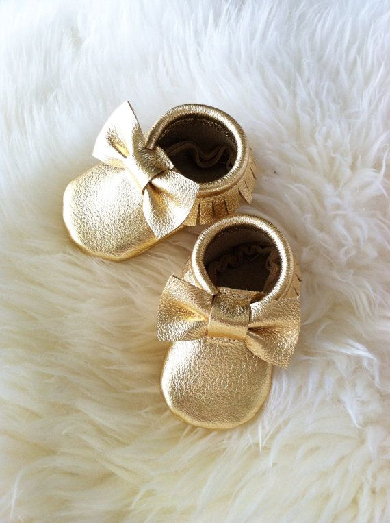 Metallic Gold Leather Moccasins…with bows!!