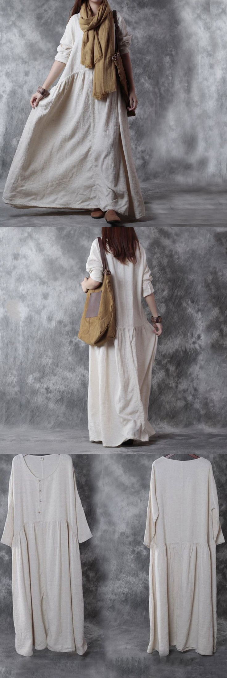Casual loose cotton linen long sleeve dress