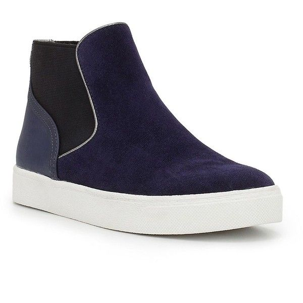 Sam Edelman Margot Suede High Top Sneakers ($80) ❤ liked on Polyvore featuring shoes, sneakers, navy blue, navy blue shoes, sam edelman shoes, navy sneakers, suede leather shoes and high top trainers