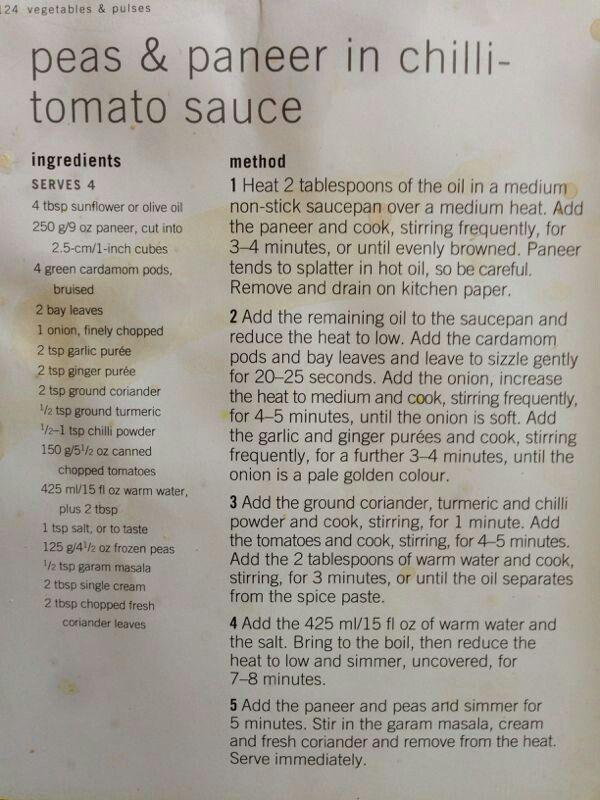Peas and paneer in chilli tomatoe sauce
