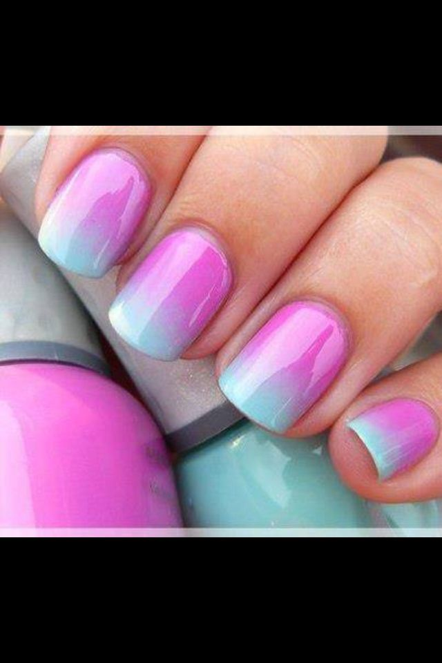 Pretty purple and green pastel ombre nail design nails for What is ombre design