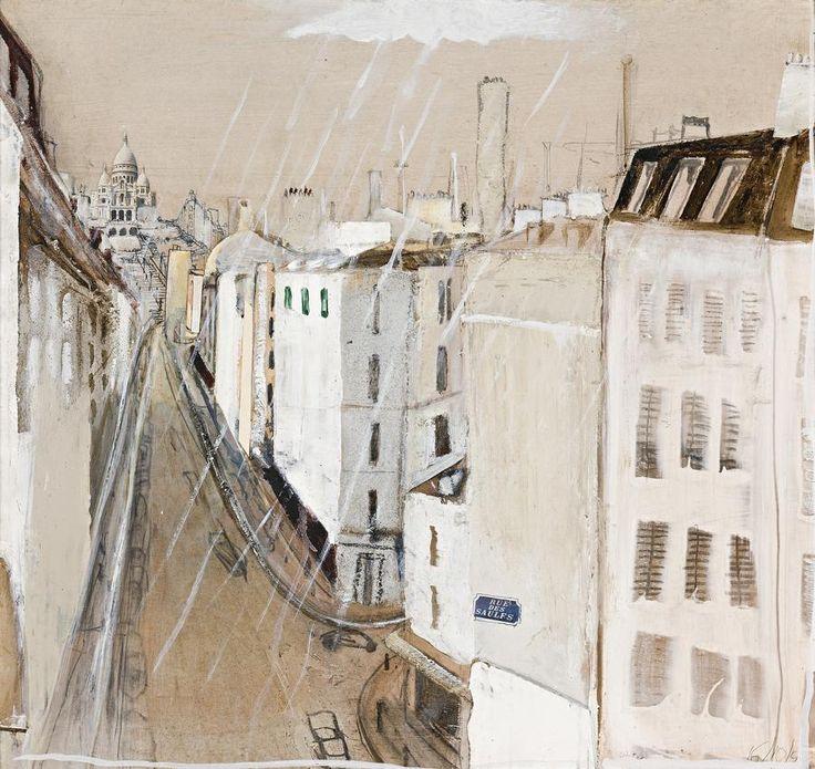 Brett Whiteley (Australian, 1939-1992), Wandering up to Montmartre in the Rain, 1991. Oil and mixed media on board, 62.0 x 65.0 cm.