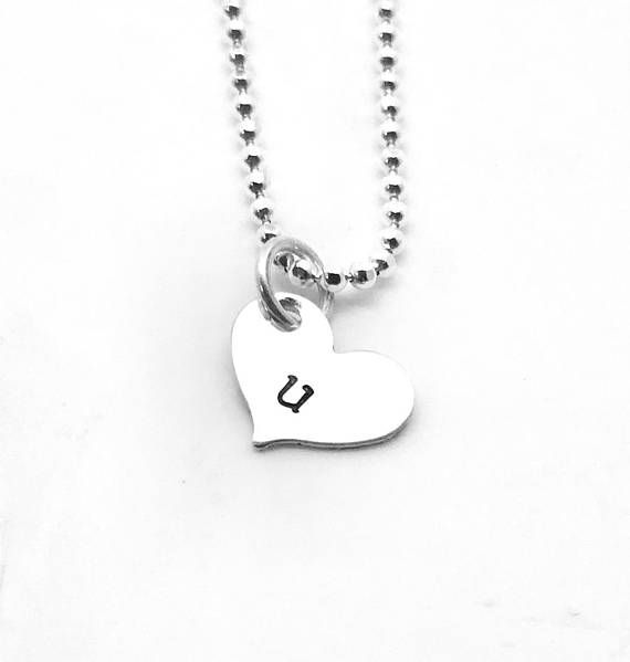 Heart Shaped Initial Necklace Sterling Silver Letter U Necklace