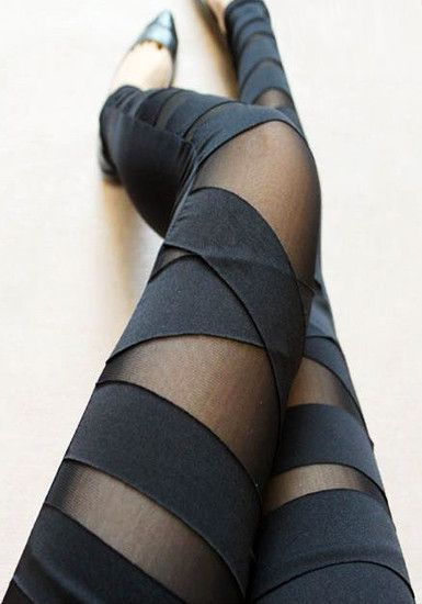 Black Cross Band Leggings