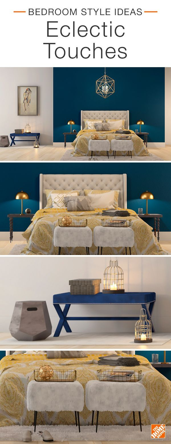 Creating an eclectic look is all about contrast, both with color and texture. In this eye-catching bedroom, bright marigold bedding shines against a jewel-toned accent wall in BEHR Nocturnal Sea. A velvet bench, brass lamps and fuzzy foot stools provide the stylish space with plenty of personality. Click to explore this look.