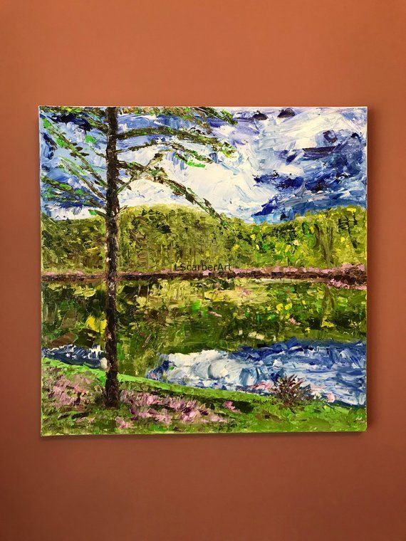 Walkers Pond 20x20 Oil Painting On Canvas Original Etsy Painting Pond Painting Oil Painting On Canvas