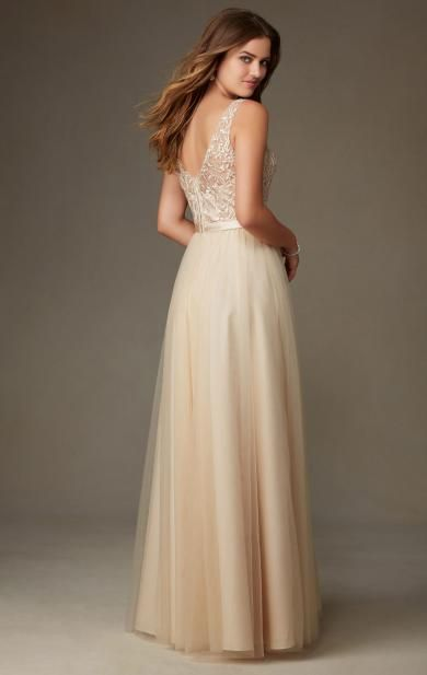 2016 Champagne Long Bridesmaid Dress BNNCL0010