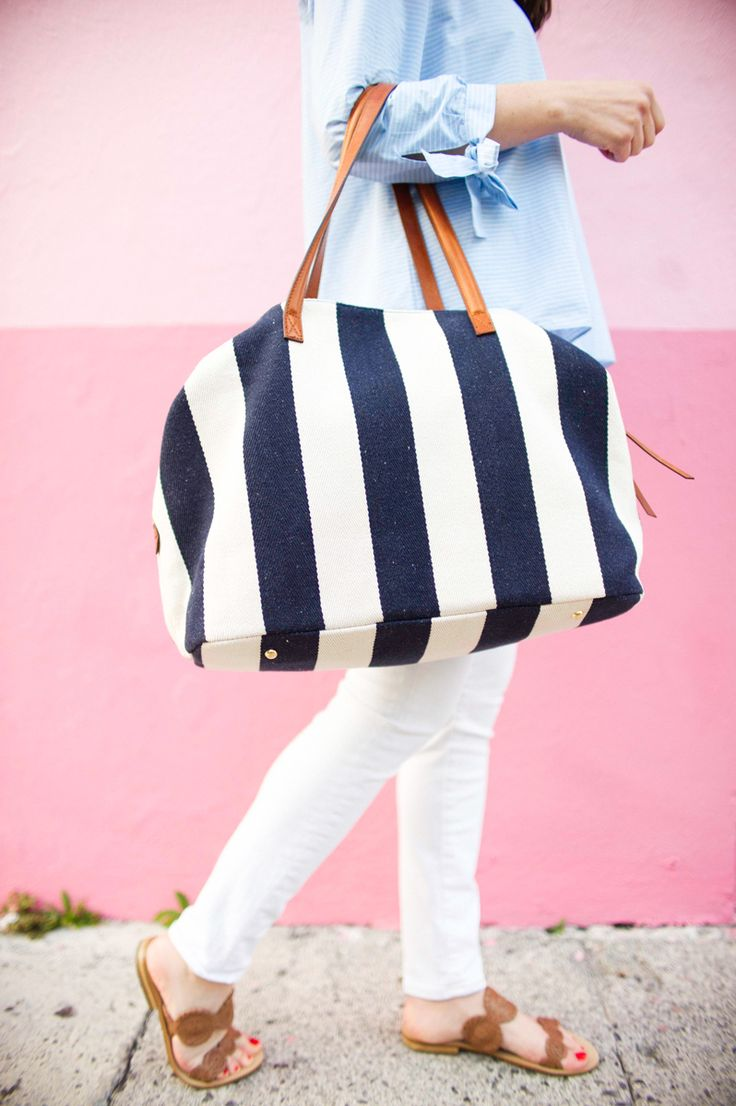Blue button down + White Pants + Brown Sandals + Striped Tote