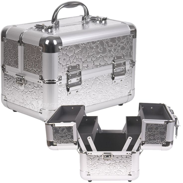 MakeupCreations - Cosmetic Train Case- Silver Flower, $59.00 (http://www.makeupcreations.com/cosmetic-train-case-silver-flower/)