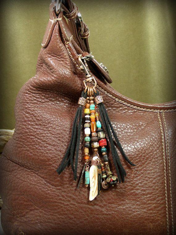 Tribal Purse Clip, Keychain Tassel, Beaded Zipper Pull by StoneWearDesigns