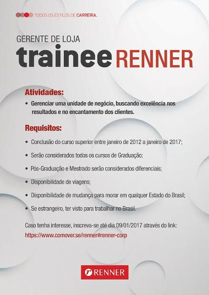 RH Manaus - Agência de Vagas: Lojas Renner - Programa de Trainee 2017