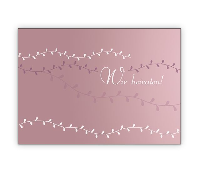 Schöne Hochzeitsanzeige mit Ranke in rose - http://www.1agrusskarten.de/shop/schone-hochzeitsanzeige-mit-ranke-in-rose/    00023_0_2852, Anzeige, Anzeigenkarten, Brautpaar, Einladung, Einladungskarte, Grusskarte, Hochzeit, Klappkarte00023_0_2852, Anzeige, Anzeigenkarten, Brautpaar, Einladung, Einladungskarte, Grusskarte, Hochzeit, Klappkarte
