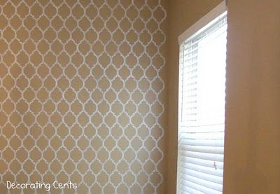 DIY Stenciled Wall using a large clear plastic stencil and painting over