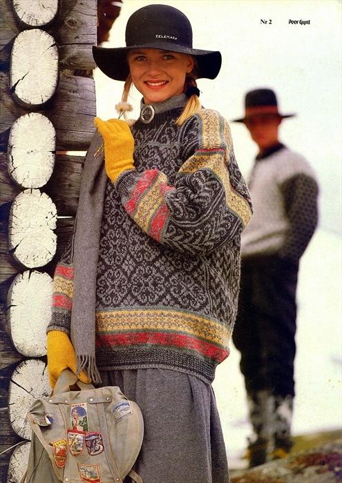Rosendal. Denne genseren strikket jeg to ganger i 1995. Den første måtte rekkes opp da den var 30% for liten pga av for stram strikking. Etter strikkingen fikk jeg tennisalbue og har lite strikket siden da.