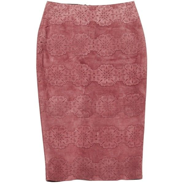 Pre-owned Burberry Prorsum Mid-Length Skirt (€615) ❤ liked on Polyvore featuring skirts, pink, women clothing skirts, flower skirt, red suede skirt, red knee length skirt, mid length skirts and embroidered skirt