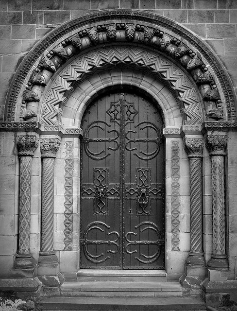 Doorway of St. Chads, Stafford Town Centre, UK