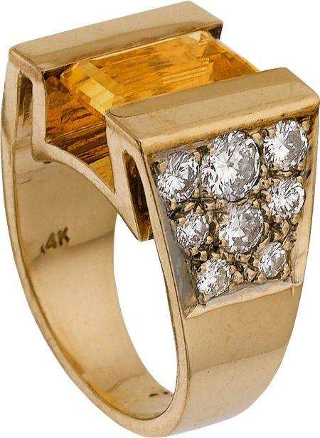 E, CITRINE, DIAMOND, GOLD RING. ...