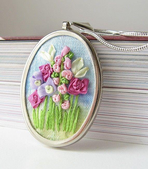 silk ribbon embroidered flower garden necklace