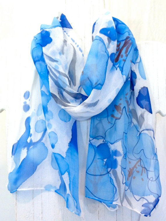 Hand Painted Silk Scarf Shades of Blue Hawaii by SilkScarvesTakuyo, $38.50: Blue Silk, Hawaii Scarf, Blue Hawaii, Painted Silk Scarves, Floral Scarf, Silk Scarf, Silk Painting, Chiffon Scarf