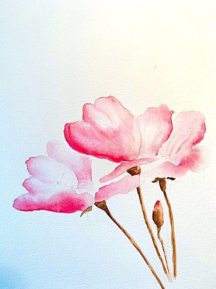 Aquarell Kirschblute Malen In 30 Minuten Aquarell Blumen