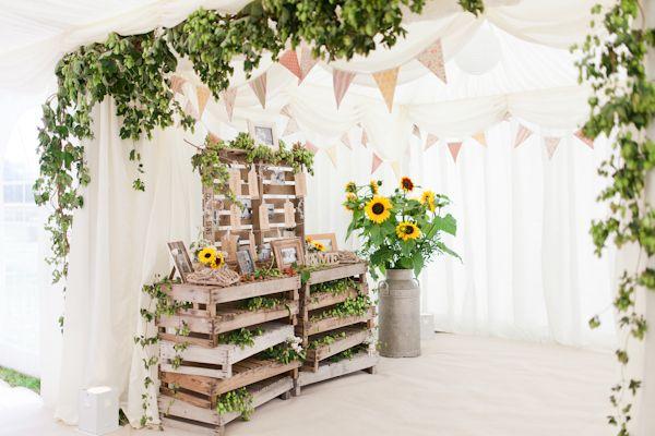 Country Rustic Home Farm Wedding Crate Table Plan http://www.whitestagweddings.com/