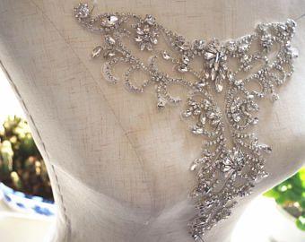 apliques de novia escote de diamantes de imitación para vestido de novia, el collar de diamantes de imitación para la boda, suministros de arte Vestido de novia, collar del rhinestone